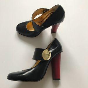 Dolce Vita Mary Jane Black Leather Heel Pump 7